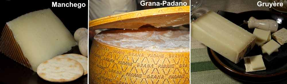 Types of hard cheese: Manchego cheese from Spain, Grana-Padano which is Italian cheese, Gruyère which is a delicious Swiss cheese