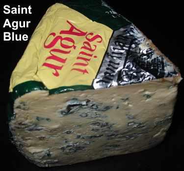 Saint Agur is a veined blue cheese made from pasteurized cow's milk